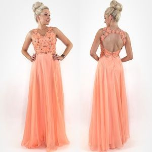 Teen Pageant Peach Prom Dress